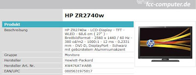 27 Zoll LED-Monitor HP ZR2740w bei First Class Computer (FCC) für 452,90 Euro