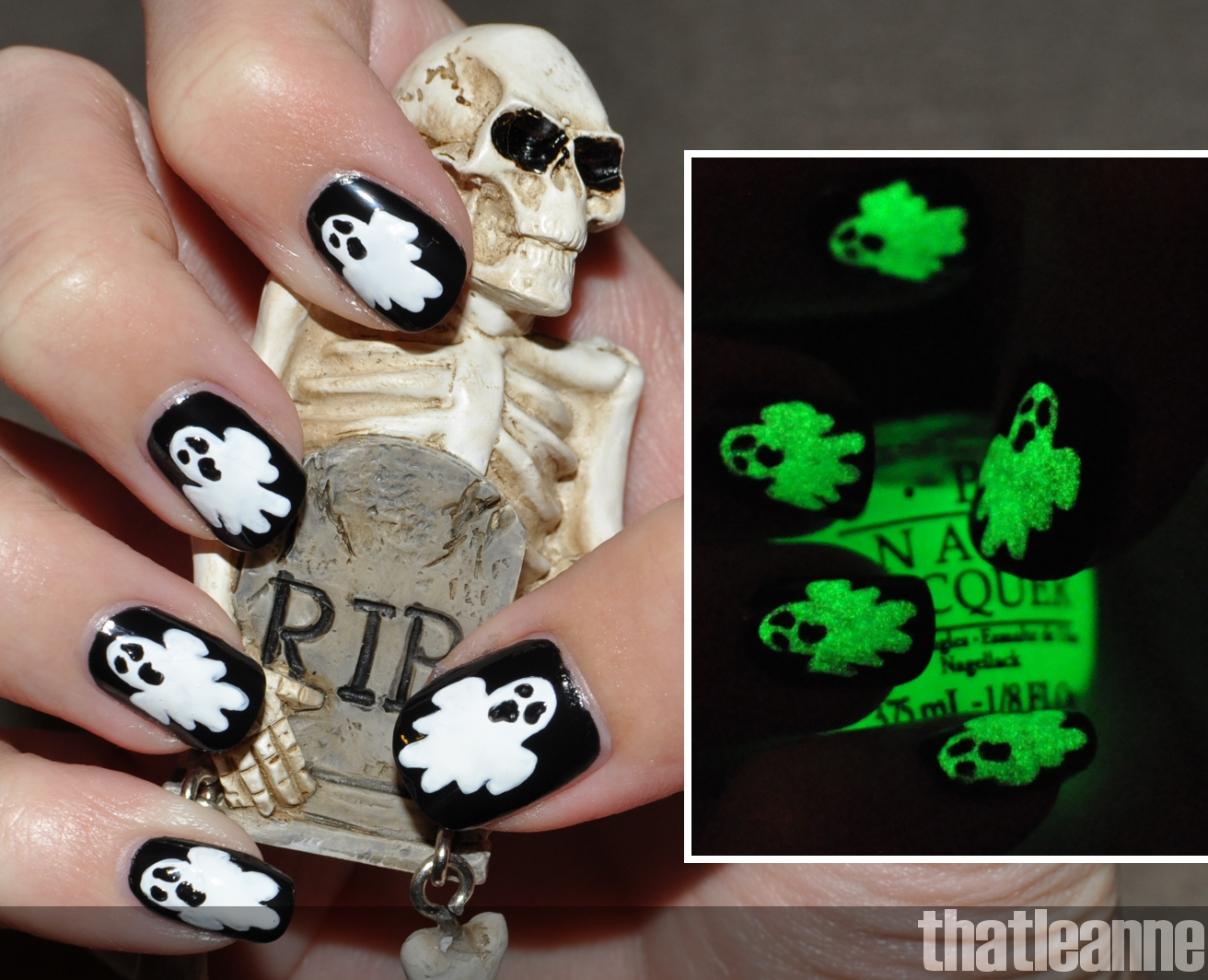 Thatleanne Glow In The Dark Ghost Nail Art For Halloween