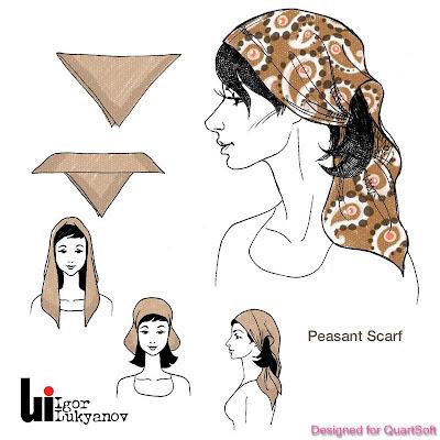 disegno di moda donna con foulard