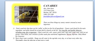 Canary Care Sheet: