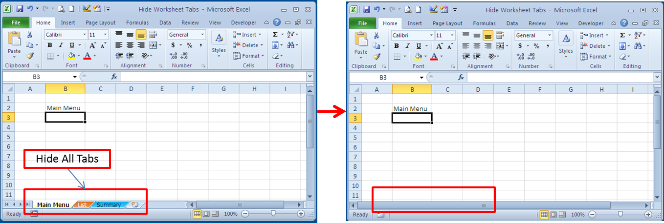 Excel worksheets hidden vba