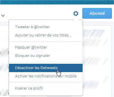 capture d'écran Twitter - désactiver retweets