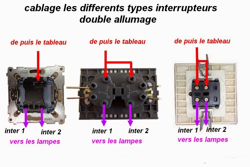 Schema branchement cablage interrupteur allumage double for Monter un va et vient en interrupteur simple