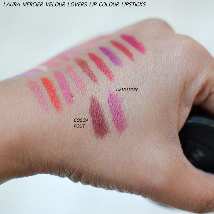 Laura Mercier Velour Lovers Lip Colour Lipsticks Swatches Cocoa Pout Devotion