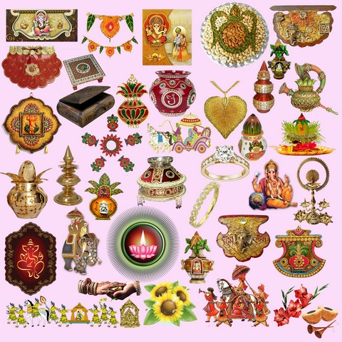 Hindu Wedding Clipart Elements PSD | Edit Your free pictures