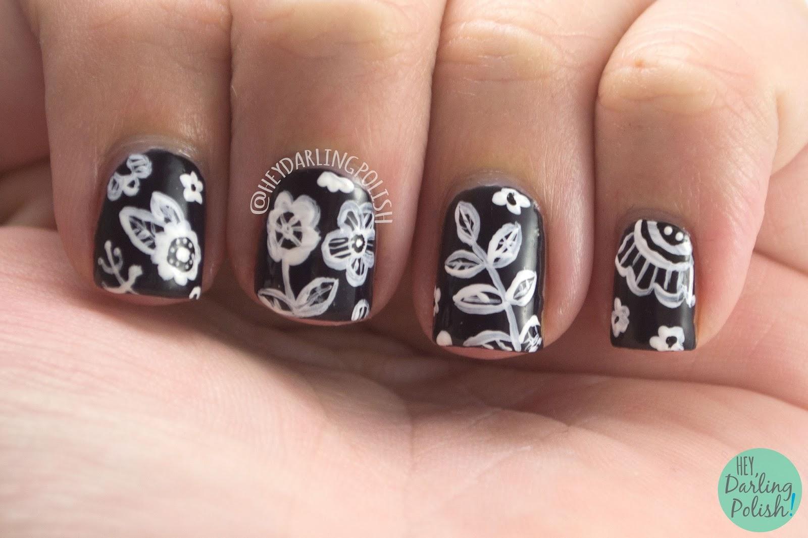 nails, nail art, nail polish, flowers, floral, black, white, hey darling polish, the nail art guild