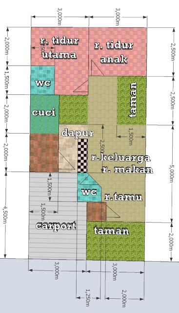 Denah Desain Rumah Minimalis Ukuran 6 x 12 m