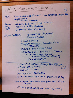 Notes regarding agile contracting models