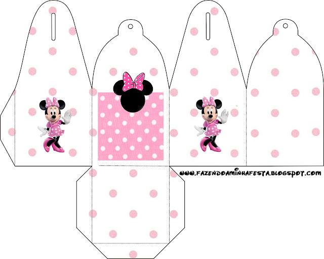 Cajitas para imprimir gratis de Minnie Mouse en fondo rosa ...