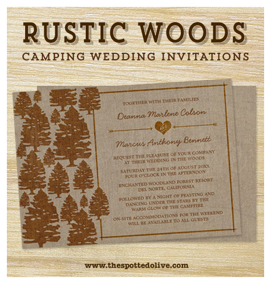 Rustic Woods Camping Wedding Invitations by The Spotted Olive