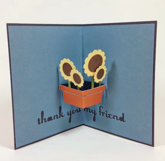 Close To My Heart Artfully Sent Cricut cartridge sunflower pop up card inside