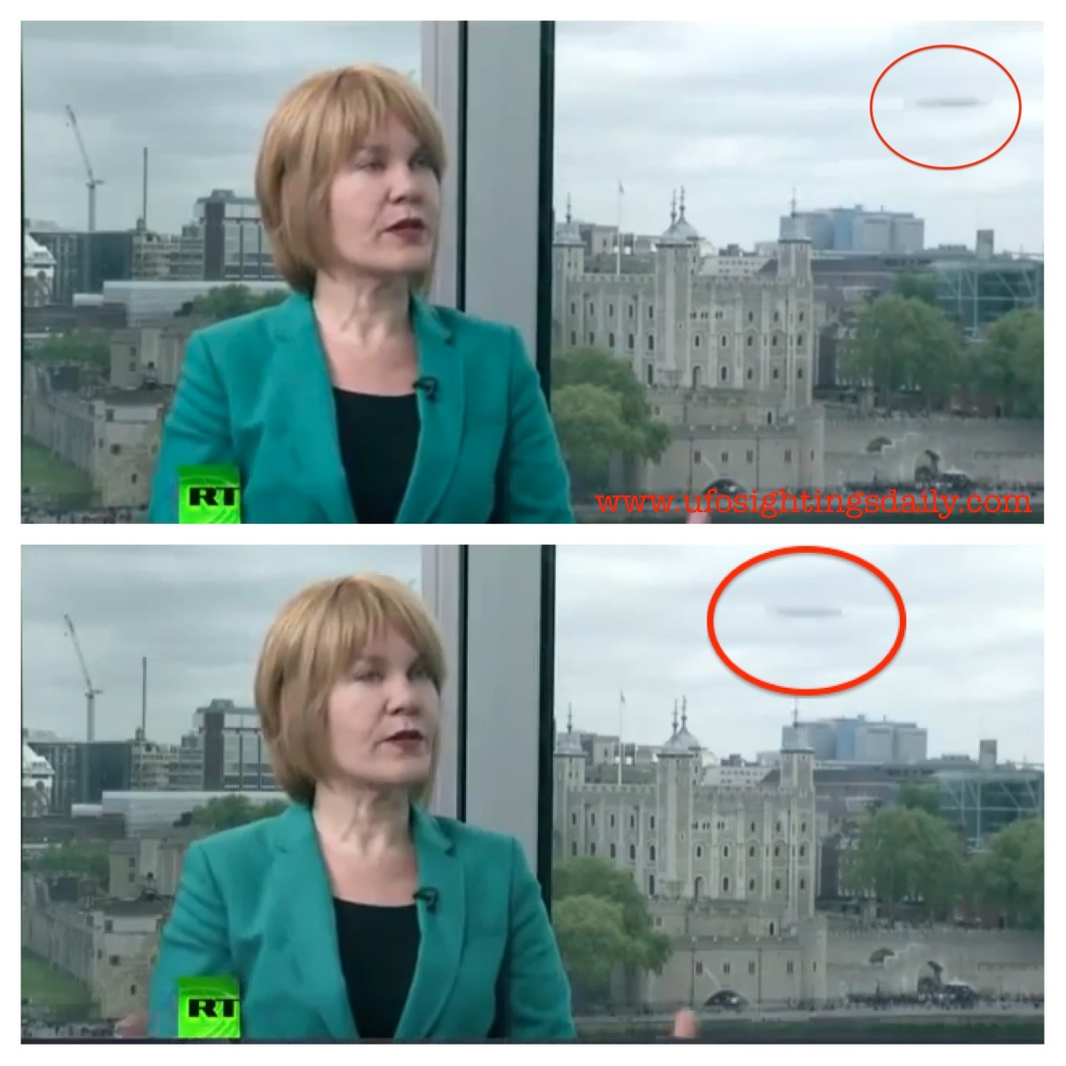 Ufo sightings daily: ufo shows up on russia today news in london