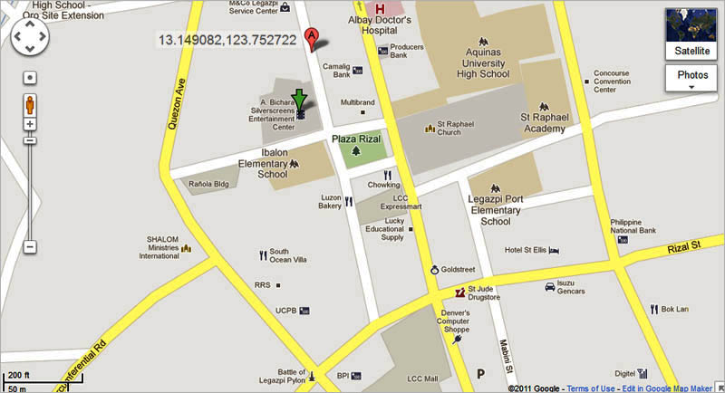 The Pinoy Wanderer Going To The Movies - Legazpi city map