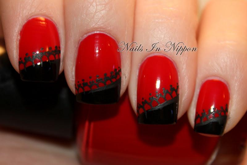 Ногти красные кружево