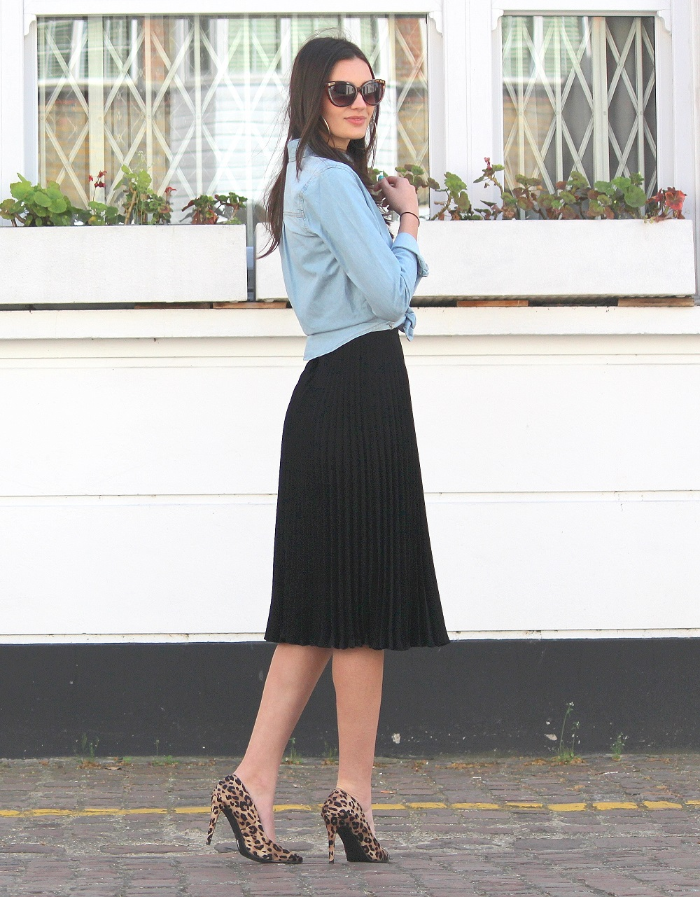 denim shirt midi skirt peexo