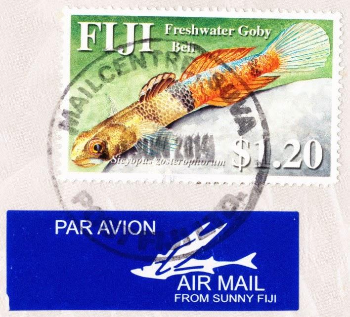 sicyopus zosterophorum, freshwater goby beli, fiji, stamp