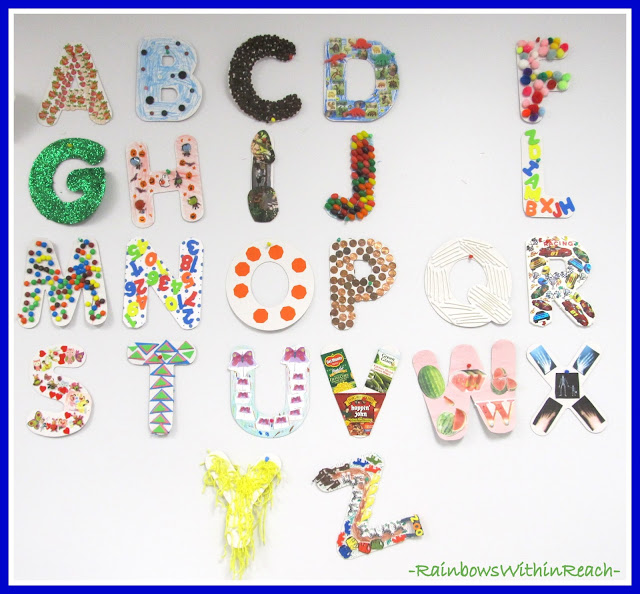 photo of: Alphabet homework Bulletin Board via RainbowsWithinReach