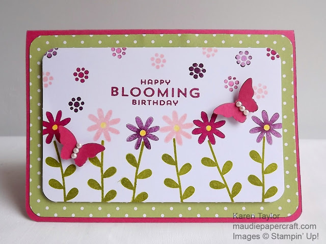 Stampin' Up! Flower Patch card, Happy Blooming Birthday