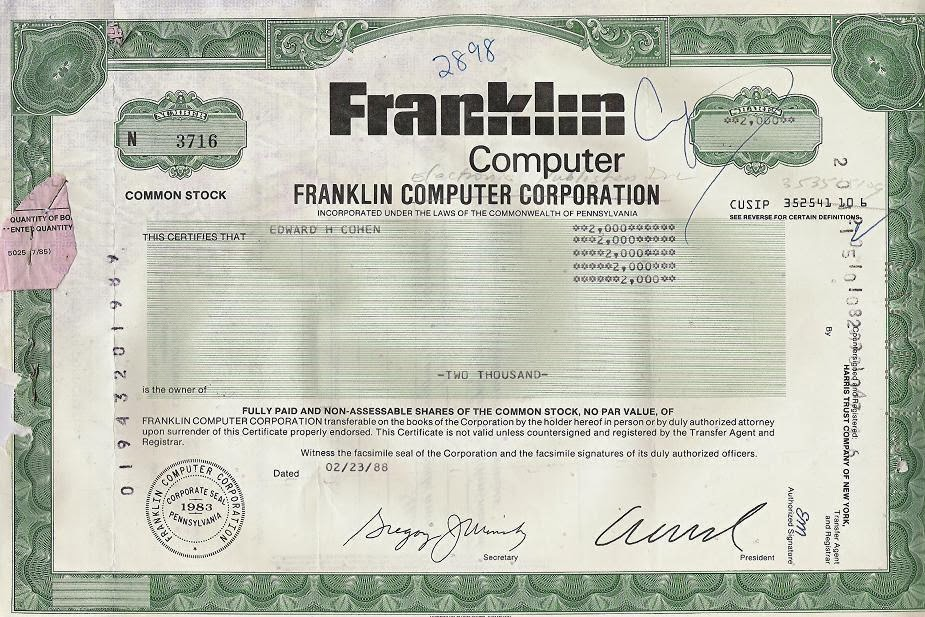 Franklin Computer Corporation stock certificate