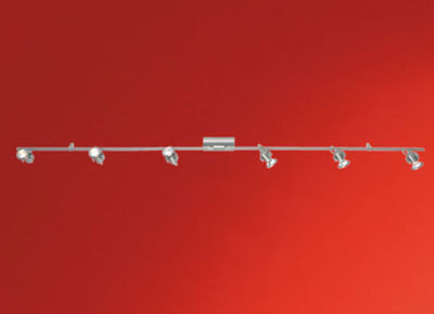 The 86015 Tukon Six Wall Spotlights on a bar - Matt Nickel Wall mounted 6 spots
