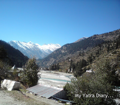 Snow clad mountain peaks at Harsil near Gangotri during the Char Dham Yatra