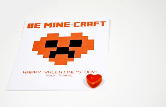 minecraft school valentines printable 2