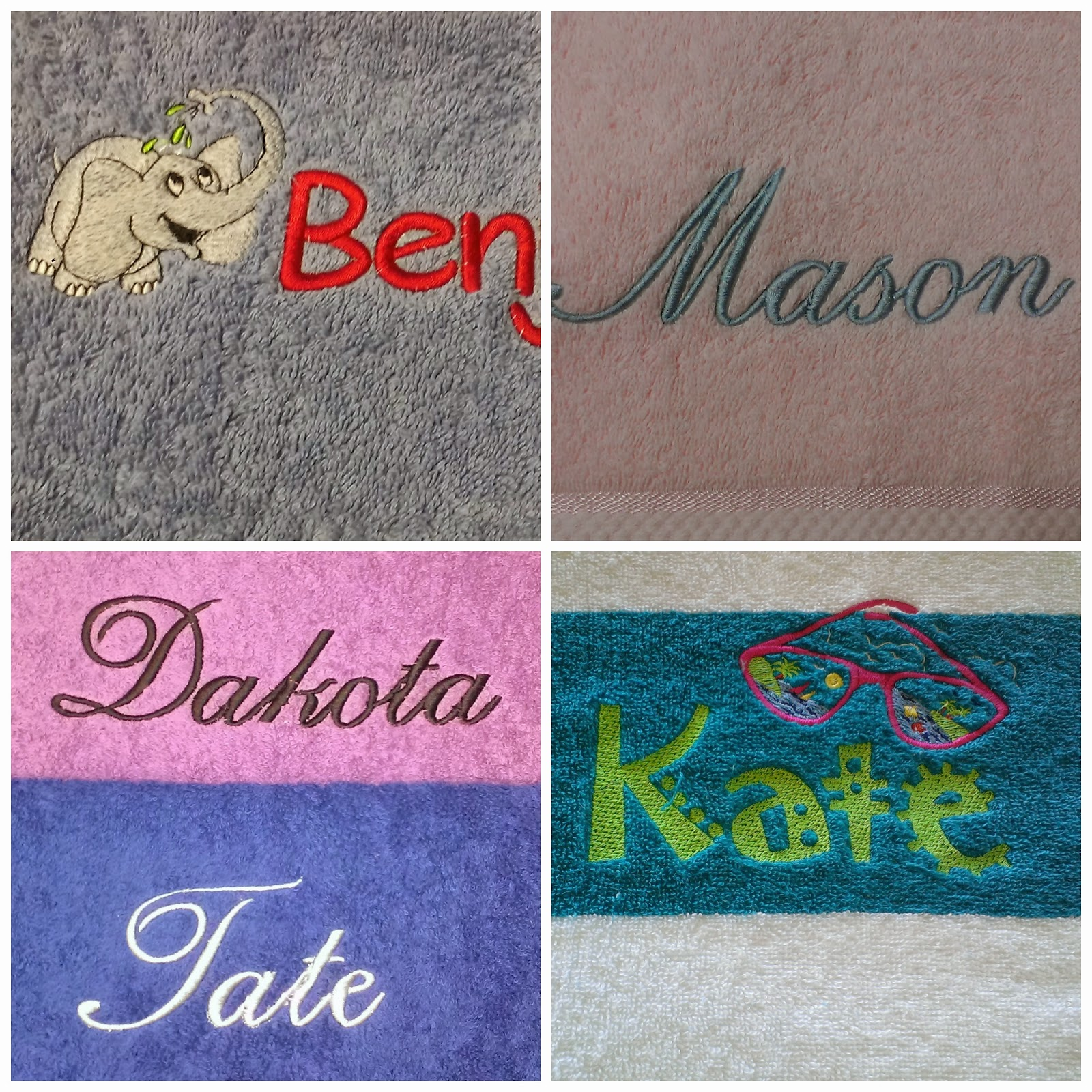 Sewing With Wendy: Personalised Embroidered Towels