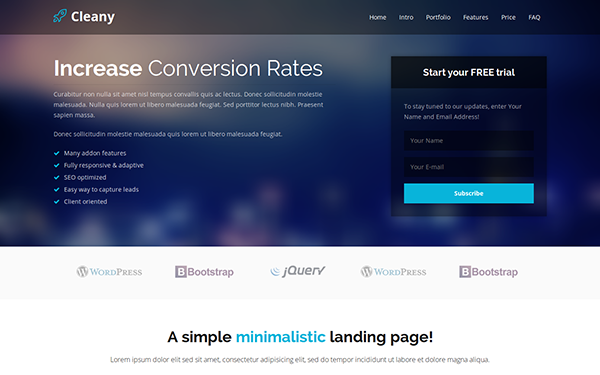 218) Download Cleany - HTML5 Bootstrap Landing Page ~ Joyy ...