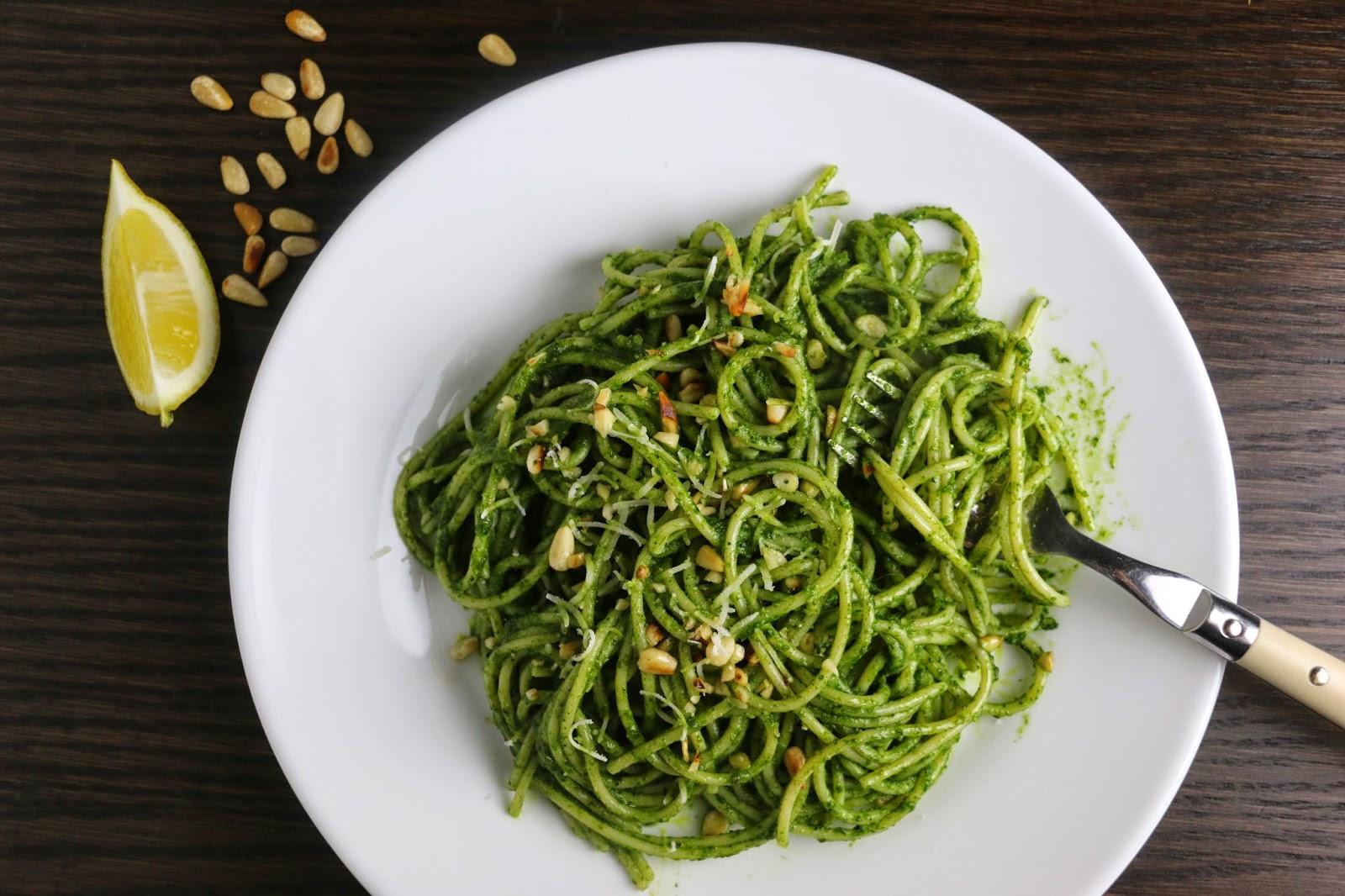 Spaghetti with Lemon Cavolo Nero Pesto