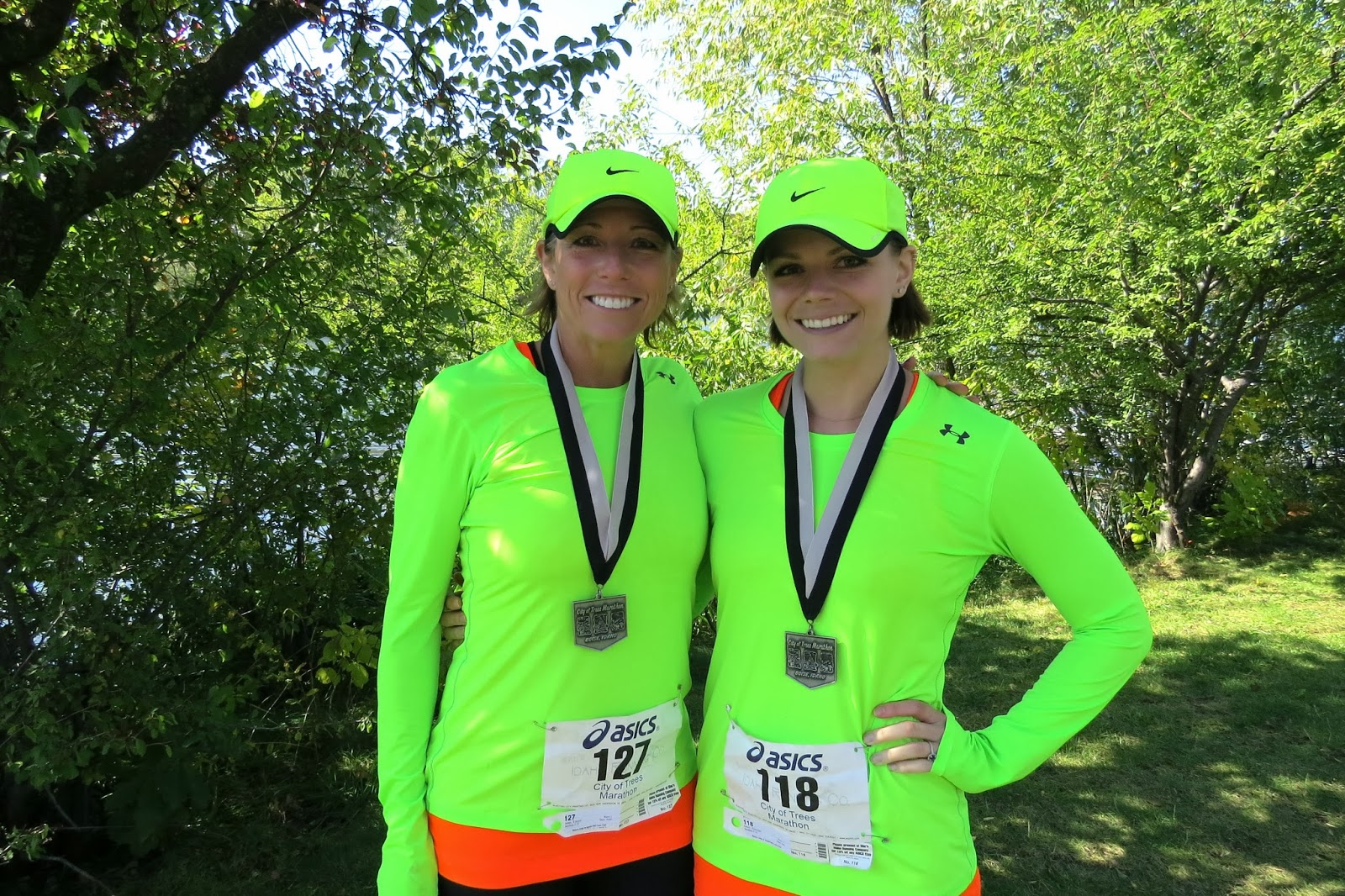 Mom and Daughter Marathoners, Bright Running Outfits