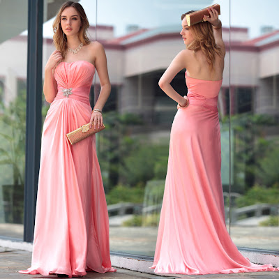 Coral Strapless Sweep Train Dress