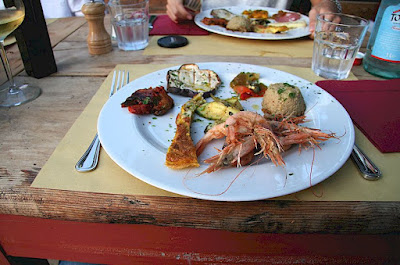 Sea food antipasta at Ristorante Dondoli in Chianti