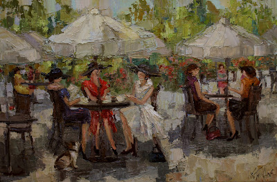 cafe a midi, parisian ladies, kathryn trotter art, www.kathryntrotterart.com, outdoor cafe, outdoor cafe paintings, impressionistic paintings, kathryn morris trotter