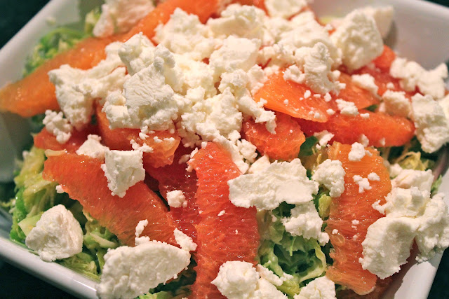 Brussels sprouts salad with Cara Cara oranges and goat cheese