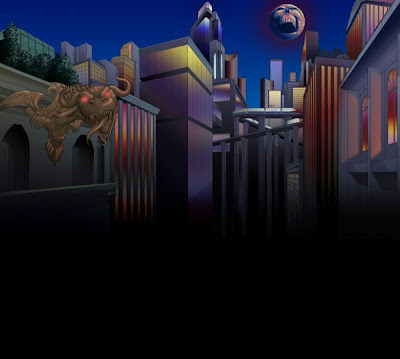 Halloween background at Superhero City