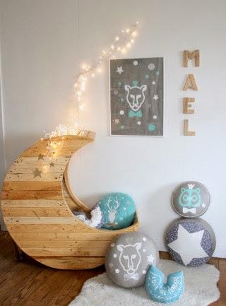 Dormitorio de bebes: cuna para bebes   cuna media luna para bebes
