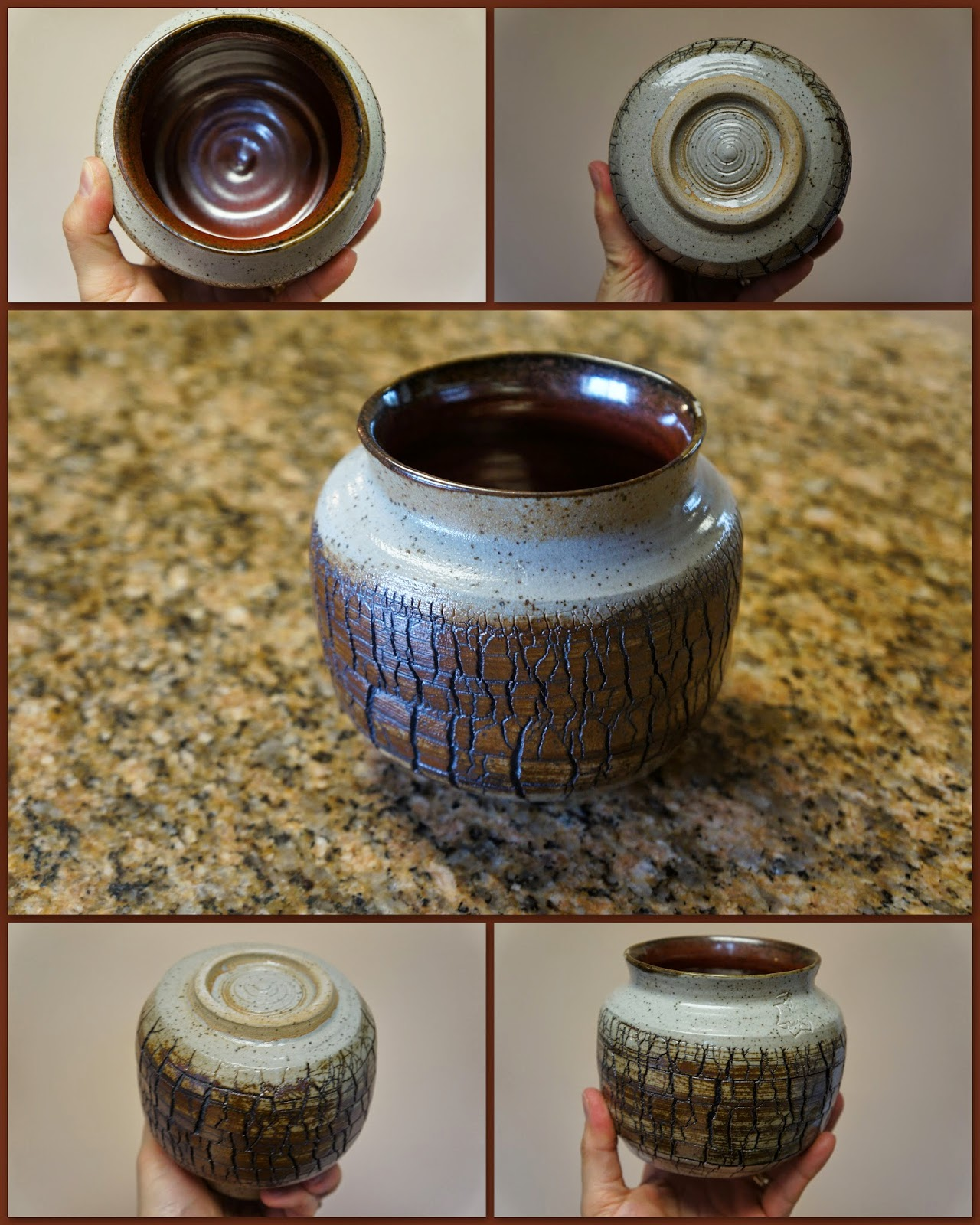 Beautiful sodium silicate crackled pottery vase with rich brown stain.