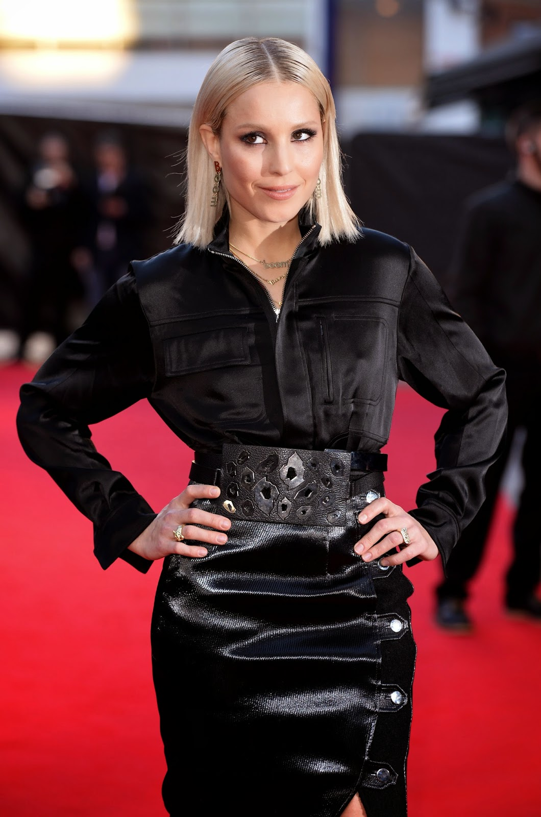 Noomi Rapace - black satin blouse & leather skirt - Satin Lite House