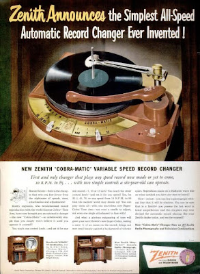 Ad for Zenith turntable from Life magazine