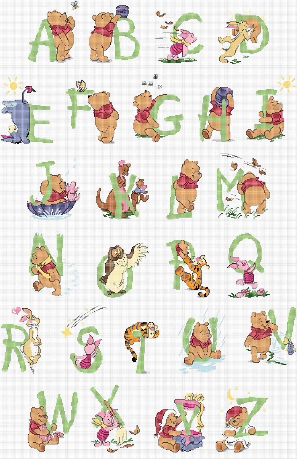 Free winnie the pooh alphabet cross stitch chart for Lettere punto croce bambini