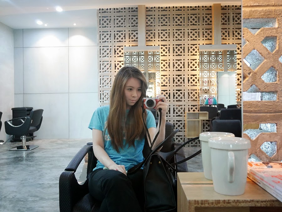 Girl on a salon chair