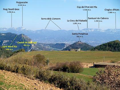 Panoràmica de part del Voltreganès i de Cabrera des de ponent de Sant Bartomeu del Grau