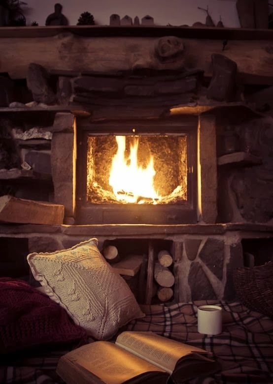 A cozy winter break with coffee mug and book