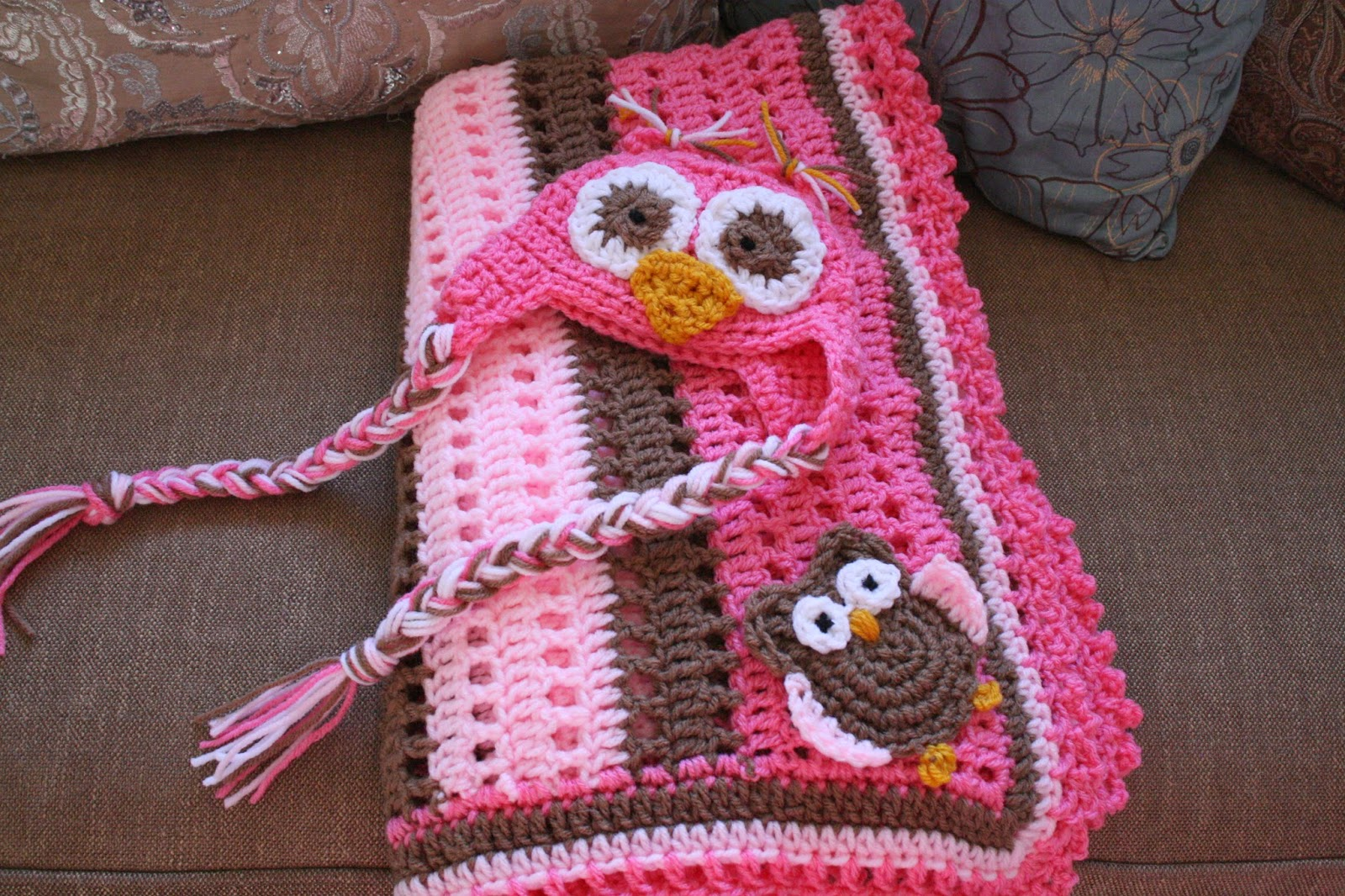 Priscillas: Crochet..Baby Boy Owl Blanket and Hat