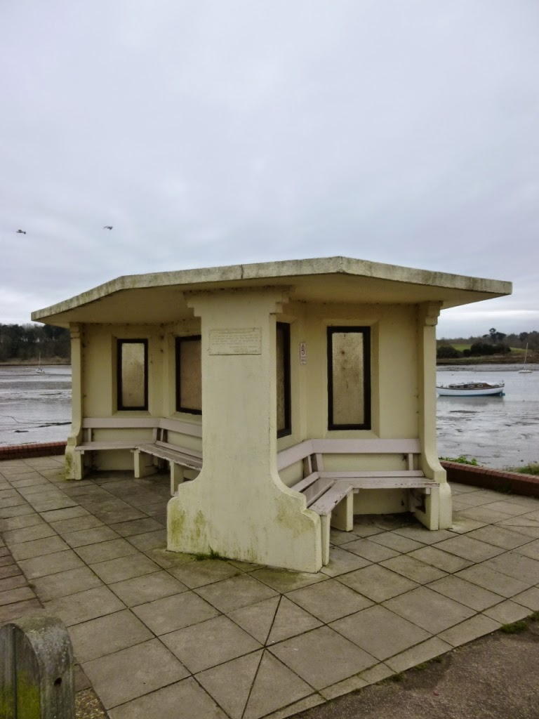 The wind shelter on the banks of the River Deben in Woodbridge, Suffolk