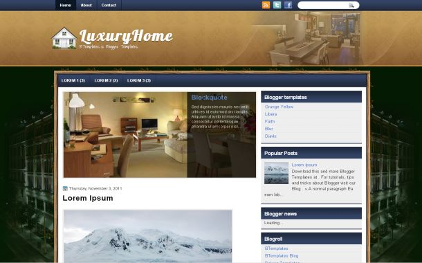 Free Green Blue Luxury Jquery Blogger Template