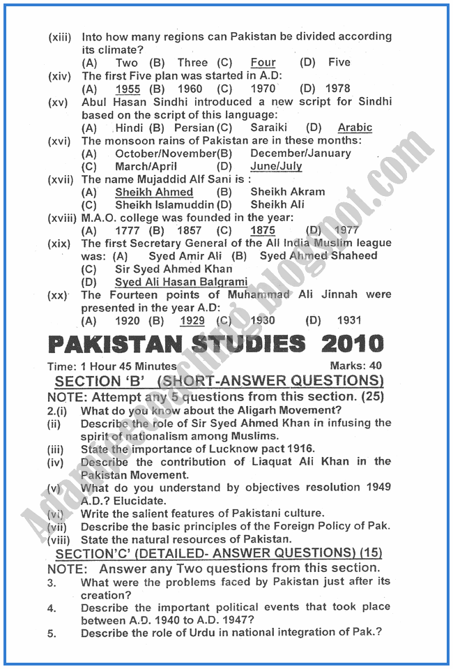 Pakistan-Studies-2010-past-year-paper-class-XII
