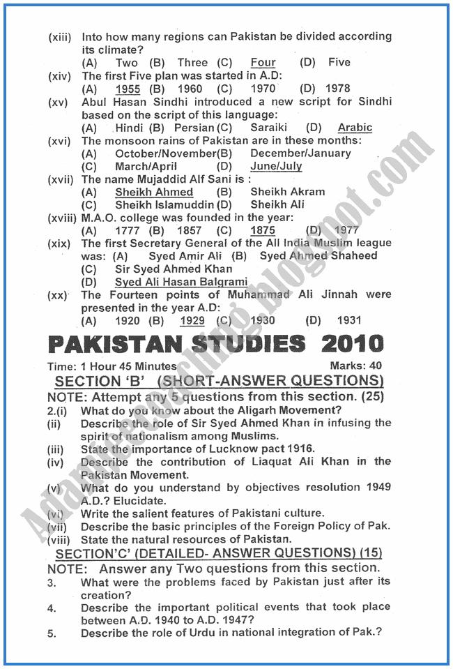 Pakistan-Studies-2010-past-year-paper-class-XII