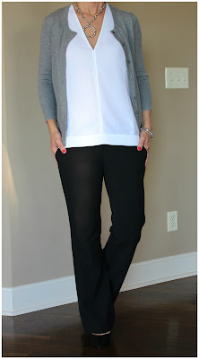 business casual outfit inspiration, fall outfit, winter outfit, black white and gray look