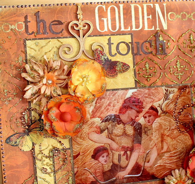 The Golden Touch layout by Ilene Tell using BoBunny Enchanted harvest collection  (detail 2)